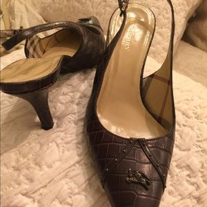 Burberry brown slingback heels, size 38.